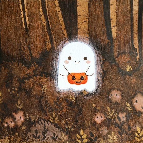 Крошечный любящий осень призрак