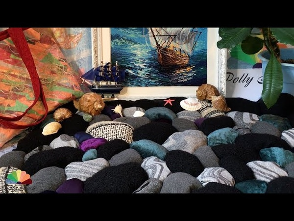 Коврик из старья Морские камушки DIY Мастер класс Rug from old clothes Sea pebbles