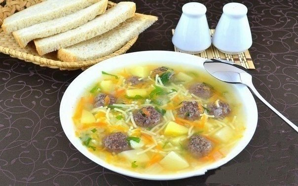 """""""Сытный суп с мясными фрикадельками"""""""