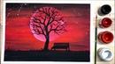 Ep.47 สอนวาดภาพคืนพระจันทร์สีเลือด | Blood Moon In The Night Sky Pai