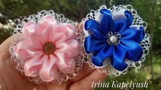 Цветы из ленты 2.5 см. Цветы из атласа. Мк канзаши.Flowers from a  de cinta