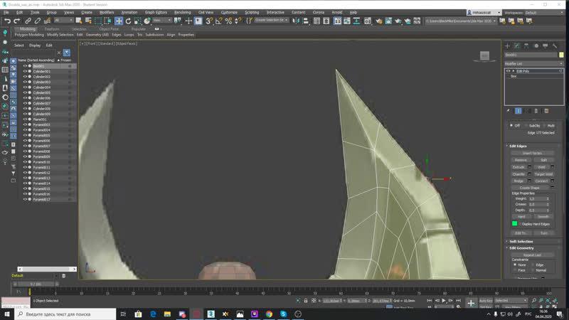 Создание 3Д модели Боевого двустороннего топора