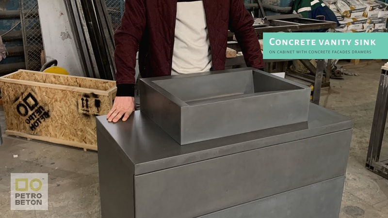 Concrete vanity sink on cabinet with concrete facades drawers Delivering all over Europe