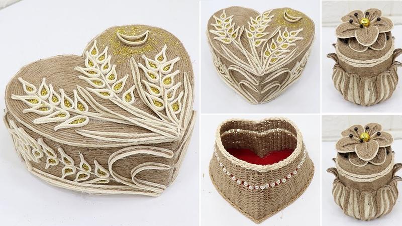 5 Storage jewelry box from jute rope Diy storage box ideas