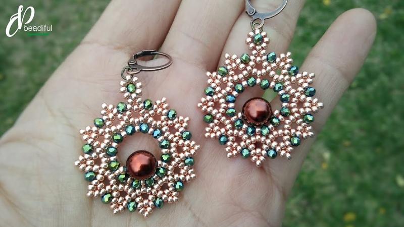 Easy to make Flower Earrings or Pendant How to make beaded earrings DIY jewelry tutorial