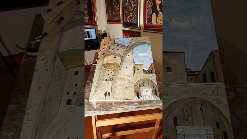 Via Maestà Delle Volte Perugia dipinta dall'artista Panichi avv Paolo