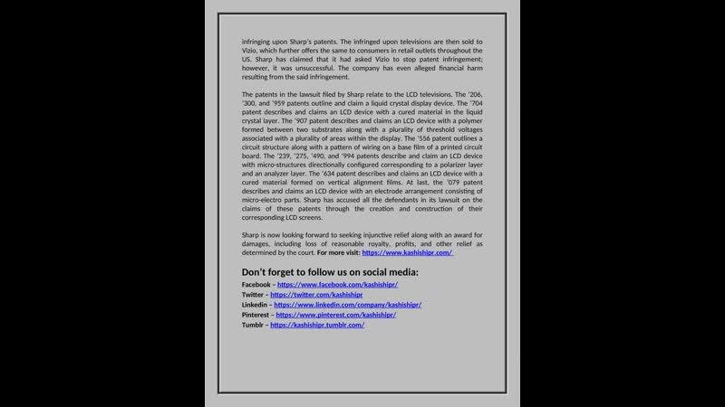 Sharp Sues Vizio Alleging LCD Patent Infringement