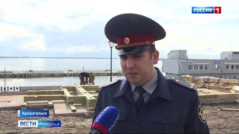Вести Поморья_В Петровском сквере начали устанавливать беседку Грина